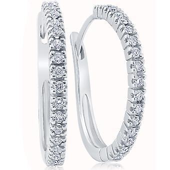 1/2ct Diamond Hoops 10K White Gold