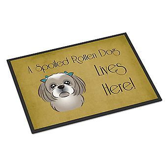 Gray Silver Shih Tzu Spoiled Dog Lives Here Indoor or Outdoor Mat 24x36