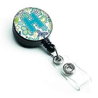 Letter H Flowers and Butterflies Teal Blue Retractable Badge Reel