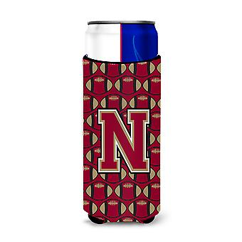 Letter N Football Garnet and Gold Ultra Beverage Insulators for slim cans
