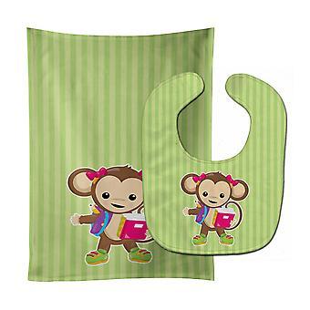 Carolines schatten BB7016STBU Monkey gonna School Baby Slabbetje & Burp doek