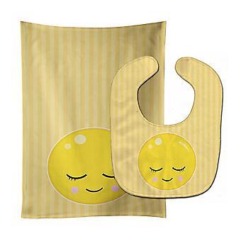 Carolines Treasures  BB8737STBU Bashful Face Baby Bib & Burp Cloth
