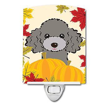 Silver Gray Poodle Thanksgiving Ceramic Night Light