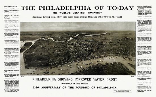 Historic Map of Philadelphia Pennsylvania 1908 Philadelphia County Poster Print