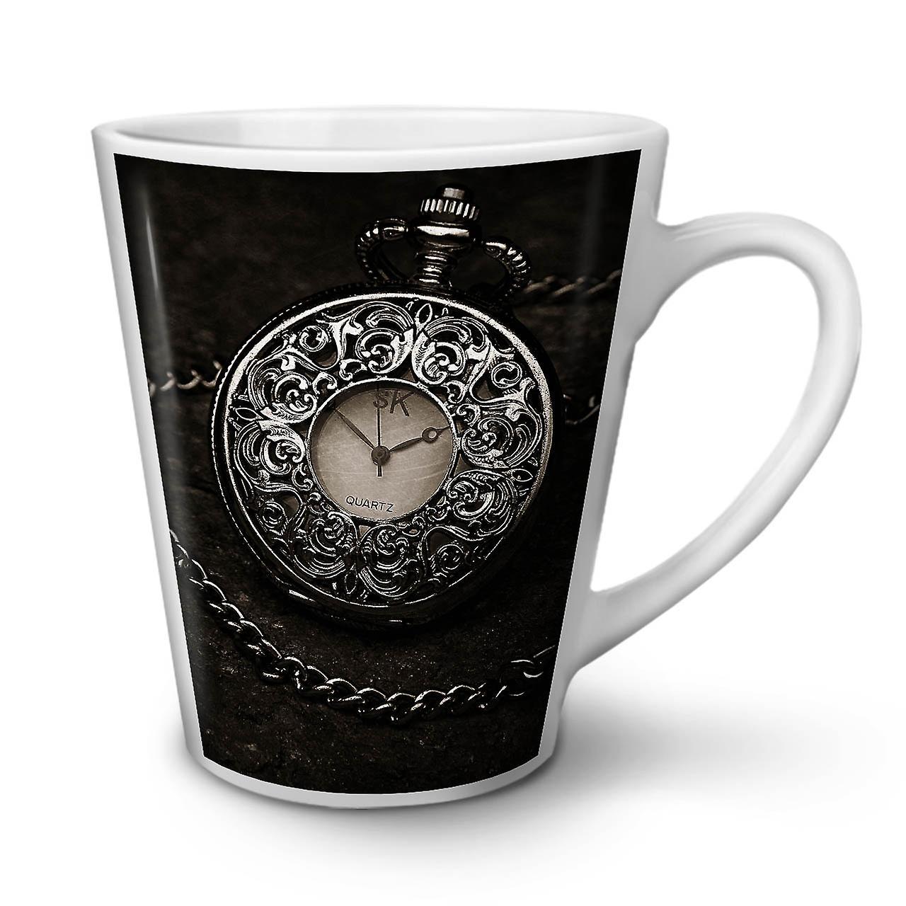 Ancien Blanc 12 OzWellcoda Horloge Café Céramique Nouveau Thé En Unique Mug Latte WDIE2YH9