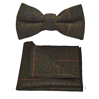 De lujo color verde oliva oscuro espiga Check pajarita & conjunto Plaza de bolsillo, Tweed