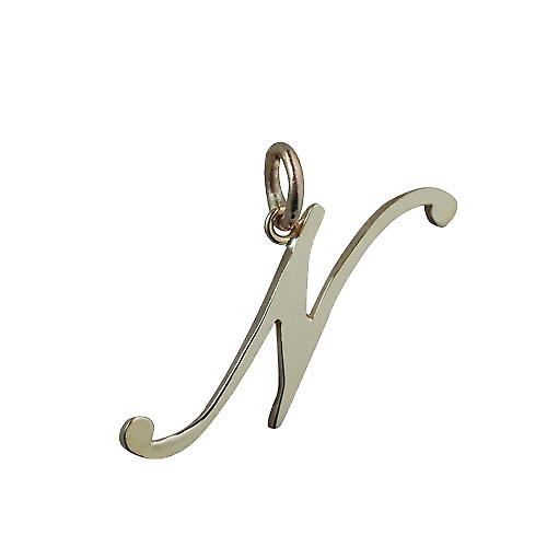 9ct 30x11mm plain Initial N Pendant