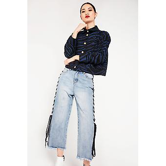 Cubic Cropped Jeans With Lattice Detail