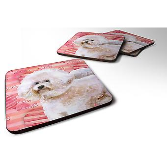 Set of 4 Bichon Frise #2 Love Foam Coasters Set of 4