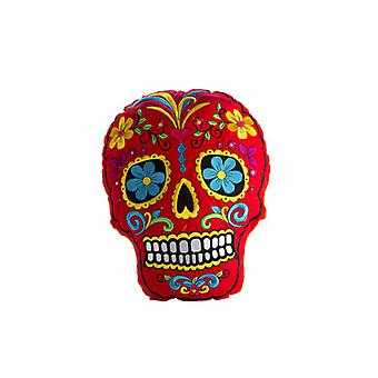 Red Candy Skull Cushion