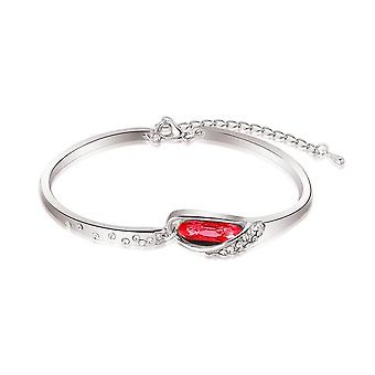 Woman Red Crystal Stone Bangle Bracelet
