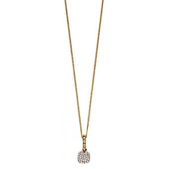 Elements Gold Bobble and Diamond Pave Cushion Drop Pendant - Gold/Clear