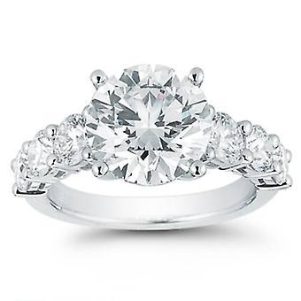 3ct ronda anillo de compromiso 14K oro blanco