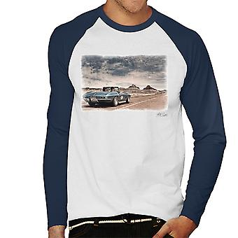 Chevrolet Corvette Stingray Convertible Desert Drive White Men's Baseball Long Sleeved T-Shirt