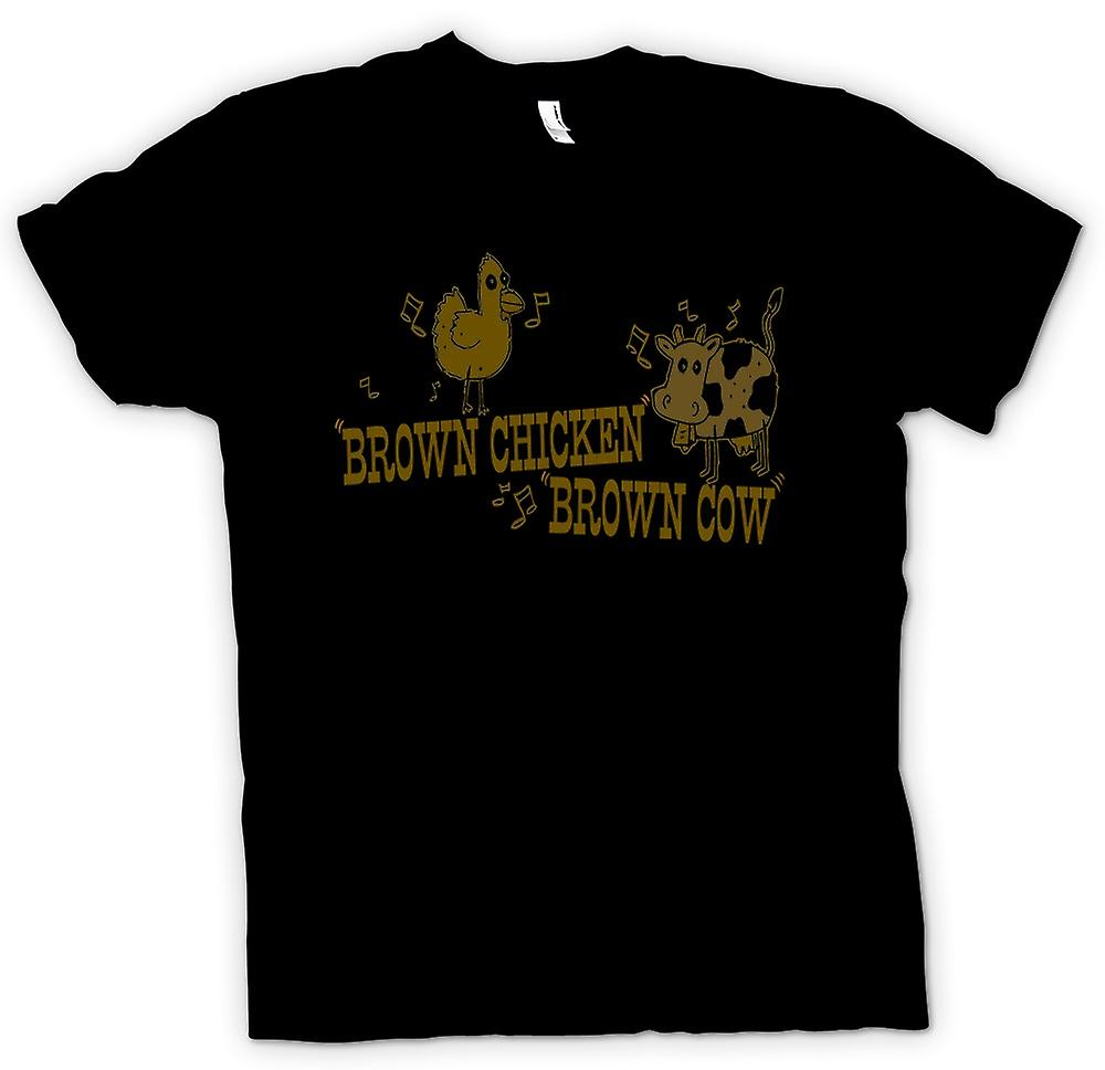 Womens T-shirt - Brown Chicken, Brown Cow - Quote