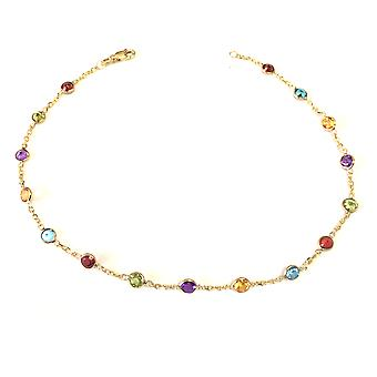 14k Yellow Gold Cable Chain Link Anklet And Alternate Round Faceted 5 Color Stones, 10