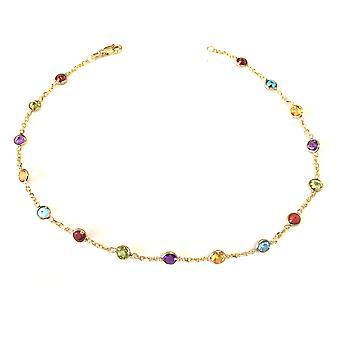 14 k amarillo oro Cable cadena enlace tobillera y ronda alternativa Color 5 piedras talladas, 10