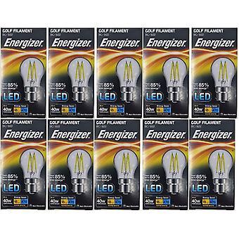 20 X Energizer Filament LED Golf Bulb  BC B22 4W = 40W 470Lumen Warm White Bayonet Cap [Energy Class A+]