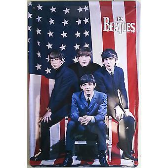 Beatles EUA bandeira em alto-relevo aço assinar 300 X 200 Mm