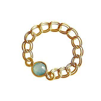 Gemshine Women's ring goud vergulde Chalon zee groen beweegbare soepel