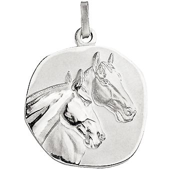 Supporters horses horse heads 925 sterling silver matt Satin Silver Pendant