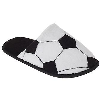 SlumberzzZ Childrens/Kids Football Patterned Slippers With Rubber Sole