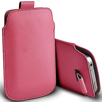 ONX3 (Baby Pink) Premium Slip In Pull Tab Sleeve Faux Leather Pouch Case Cover For Doopro C1 Pro [ XXL ]