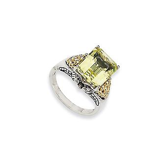 925 Sterling Silver Antique finish With 14k 4.00Lemon Quartz Ring - Ring Size: 6 to 8
