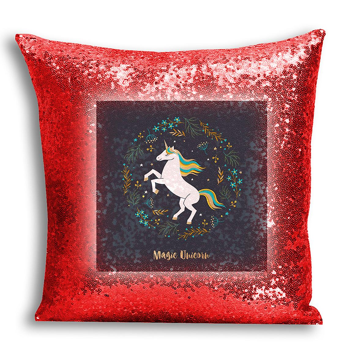 tronixsUnicorn Home I Printed Sequin 12 CushionPillow Cover Decor Design Red For H2WIED9