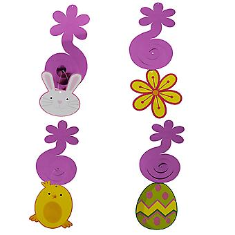 4PC Pack Assorted Hanging Swirl Easter Decorations Chick Easter Egg Bunny Flower TRIXES