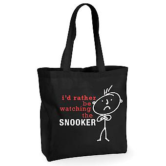 Mens I'd Rather Be Watching the Snooker Movie Black Cotton Shopping Bag