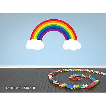 Fabric Reusable Wall Decal Colourful Rainbow and Clouds