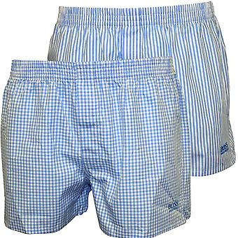 Boss 2-Pack Check & Stripe Heritage Boxer Shorts, Sky Blue