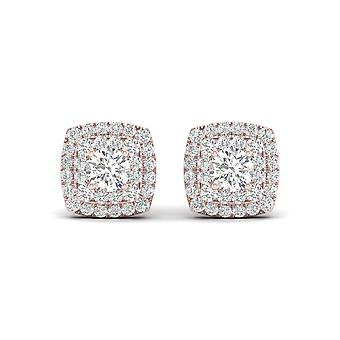 IGI Certified 0.50 Ct Natural Diamond Double Halo Stud Earrings in 10k Rose Gold