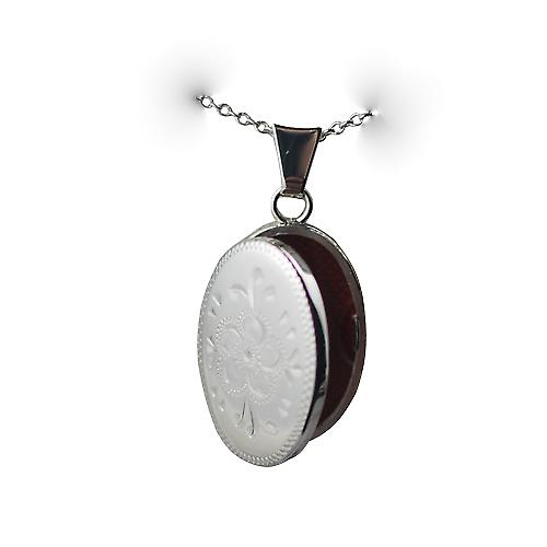 Silver 22x15mm oval hand engraved Locket with a rolo chain