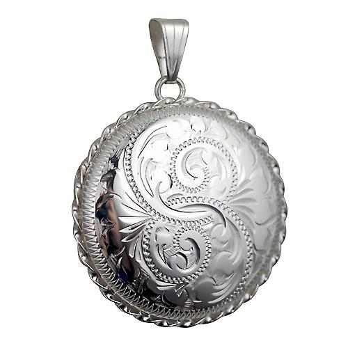 Silver 31mm round hand engraved twisted wire edge Locket