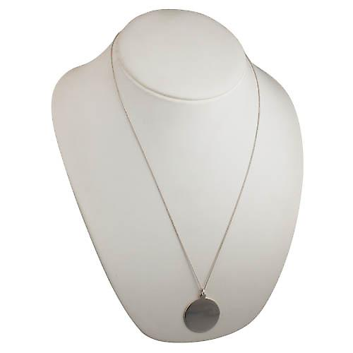 Silver 30mm round plain round Disc with a curb Chain 24 inches