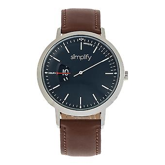 Simplify The 6500 Leather-Band Watch - Brown/Black