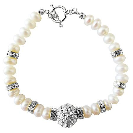 Gorgeous!!Genuine FreshWater Pearl in Button Shape with Rondells Gold Plated and Gold Plated Pendant Bracelet