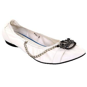 Ladies Slip On Ballerine Scarpe gemmata corona catena bianca PU in pelle donna