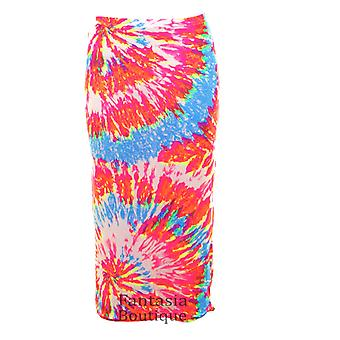 Ladies Tie Dye Print Crop Top Midi Elasticated Pencil Skirt