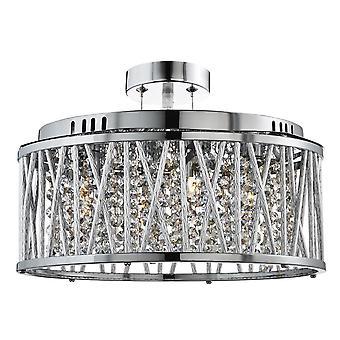 Luz de teto de luz cinco Elise Chrome e cristal - holofote 8335-5CC