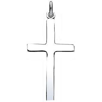 Bella Polished Plain Cross Pendant - Silver