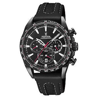 Festina Mens Black PVD Plated Chrono Leather Strap F20351/3 Watch