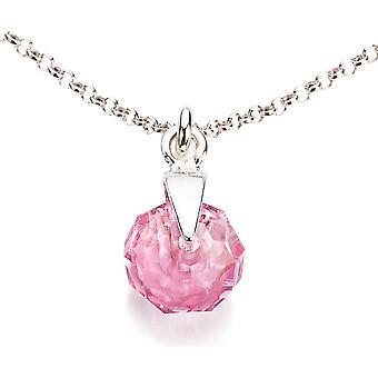 Ah! Jewellery Light Rose Briolette Crystal from Swarovski Necklace, Sterling Silver