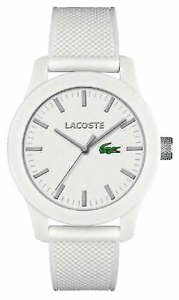 Lacoste Mens 12.12 white silicone strap white dial 2010762 Watch