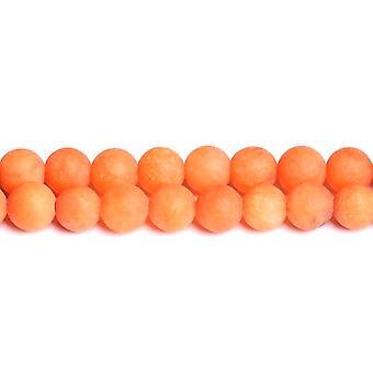 Strand 40 + oranje Maleisische Jade 8mm Frosted vlakte ronde kralen CB50302-2