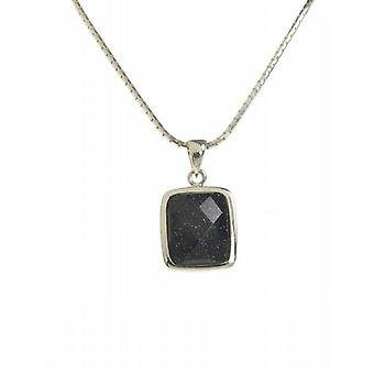 "Cavendish French A Little Square Blue Sandstone Pendant with 16 - 18"" Silver Chain"