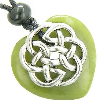 Amulet Celtic Shield Knot Puffy Heart Green Serpentine Gemstone Pendant Necklace