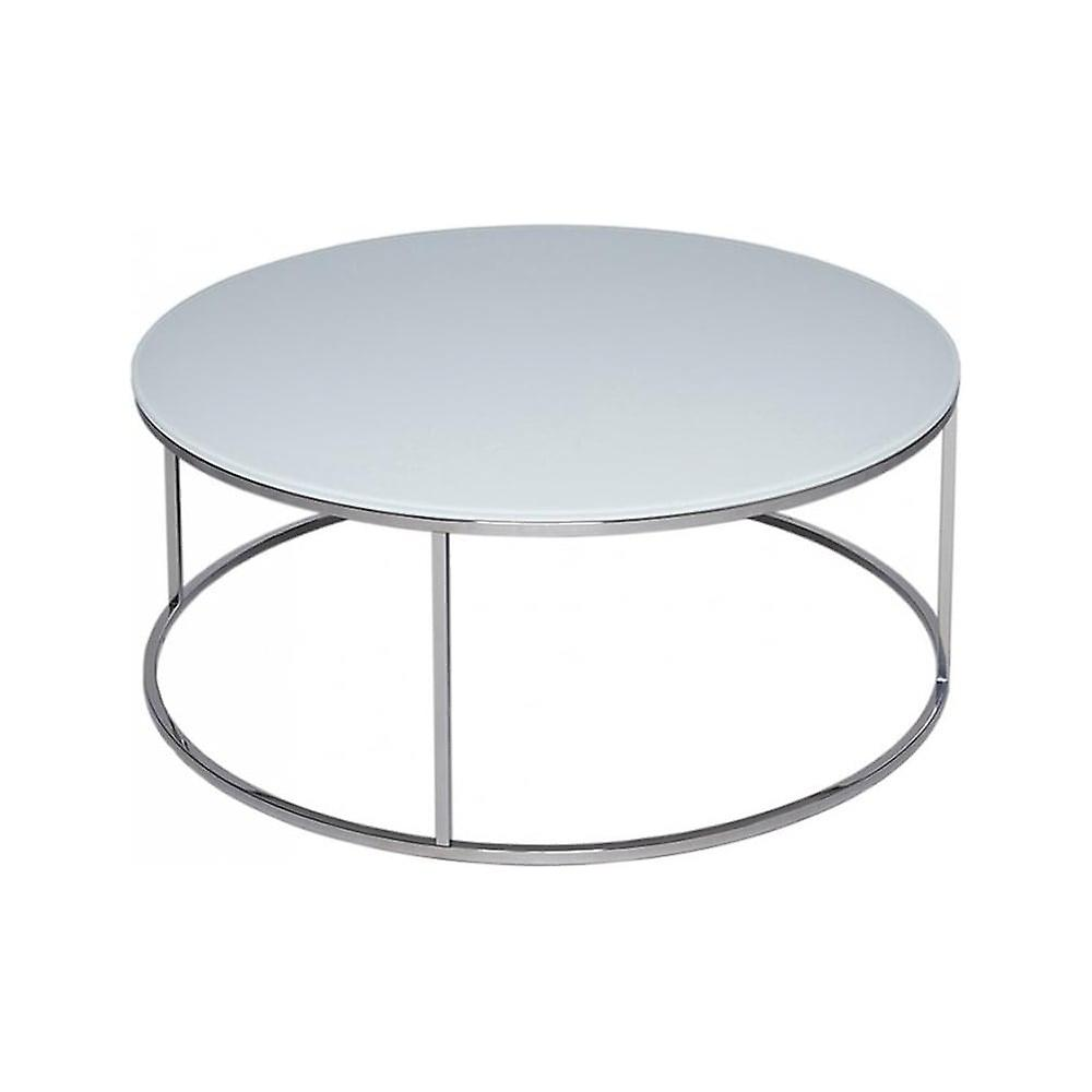 Gillmore Space White Glass And Silver Metal Contemporary Circular Coffee Table